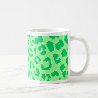 green leopard print pattern mug
