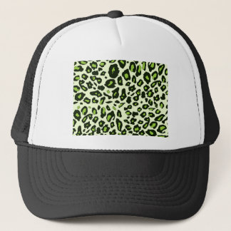 Green leopard print trucker hat