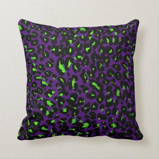 Green Leopard Spots on Purple Cushion