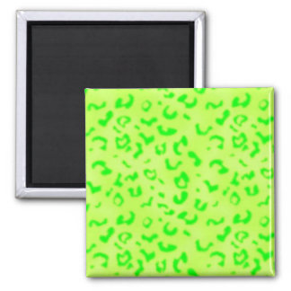 Green Leopard Square Magnet