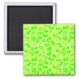 Green Leopard Square Magnet