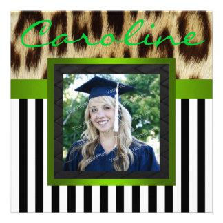 Green Leopard Stripes Grad Photo Invite