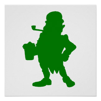 Green Leprechaun With Beer Silhouette Posters