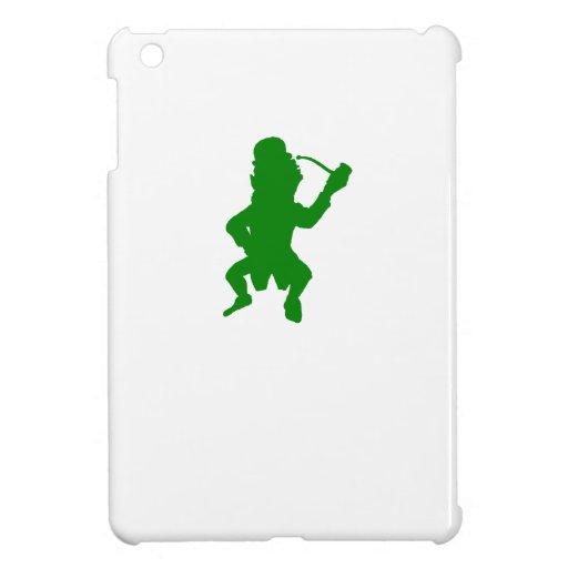 Green Leprechaun With Pipe Silhouette iPad Mini Cover