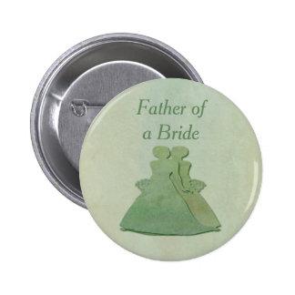 Green Lesbian Bride's Father Badge - Mint Rustic