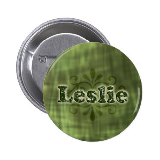 Green Leslie 6 Cm Round Badge