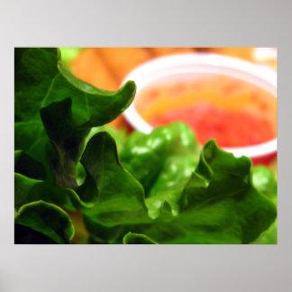 Green Lettuce Leaf Photo Poster