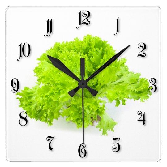 Green lettuce square wall clock