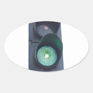 Green light oval sticker