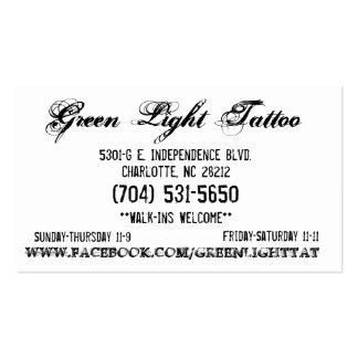 Green Light Tattoo Card Pack Of Standard Business Cards