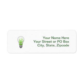 Green Lightbulb Symbol Return Address Label