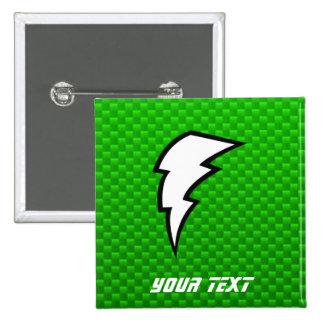 Green Lightning Bolt 15 Cm Square Badge