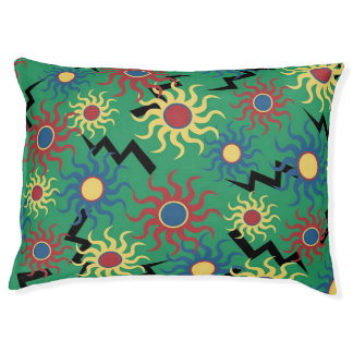 Green Lightning Bolts and Sunshines Doggie Bed