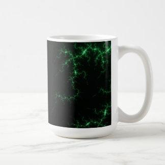 Green Lightnings on Black - fractal design Coffee Mugs
