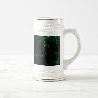 Green Lightnings on Black - fractal design Coffee Mug