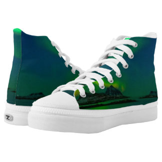 Green Lights Over Iceland,  Zipz High Top Shoes