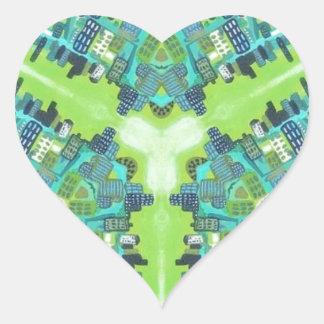 Green lights heart sticker