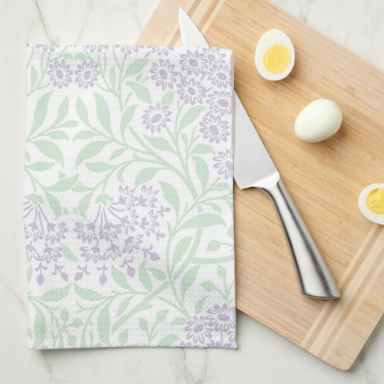 Green Lilac Floral Damask Pattern Tea Towel