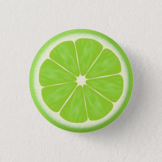 Green Lime Citrus Fruit Slice 3 Cm Round Badge