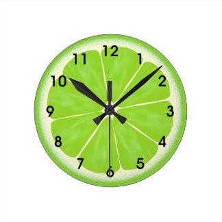 Green Lime Citrus Fruit Slice Wall Clocks