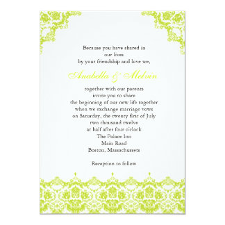 Green Lime Lace Wedding Invitation