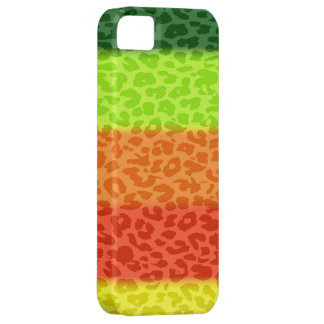 Green Lime Orange Red Yellow Leopard Retro Stripes iPhone 5 Case