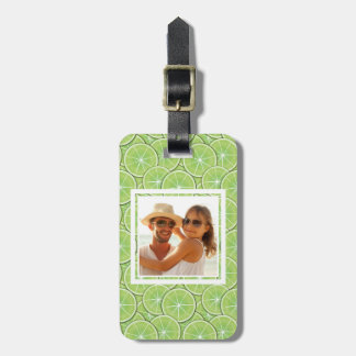 Green Lime Pattern | Add Your Photo Luggage Tag