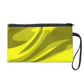 Green Lime Retro Funky Painting Abstract Art Wristlet Clutch