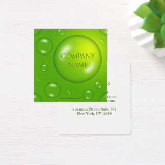 Green lime texture with drops. square business card