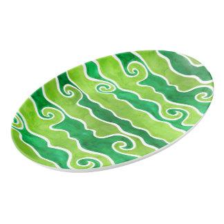 Green Lime Waves Porcelain Serving Platter