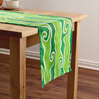 Green Lime Waves Short Table Runner