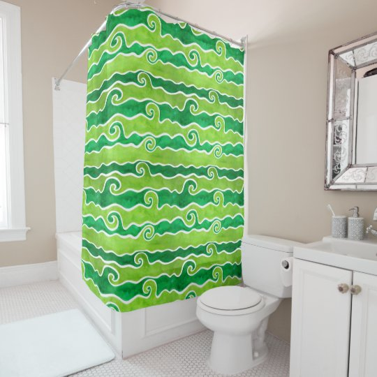 Green Lime Waves Shower Curtain