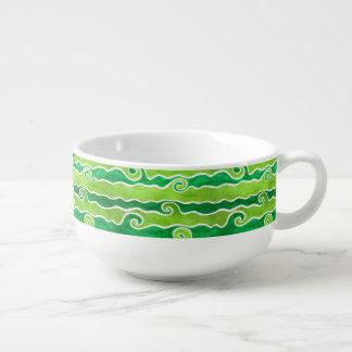 Green Lime Waves Soup Mug