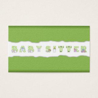 Green Linen Babysitting & Child Care Card