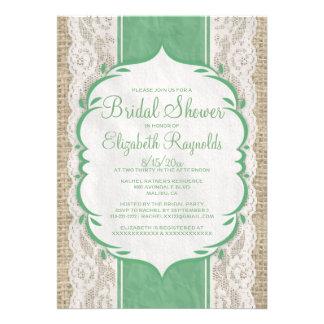 Green Linen Burlap Lace Bridal Shower Invitations Personalized Announcements