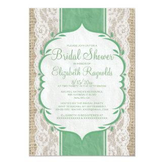 Green Linen Burlap Lace Bridal Shower Invitations