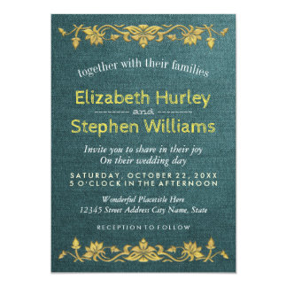 Green Linen Gold Floral Embroidery Wedding Shower 13 Cm X 18 Cm Invitation Card