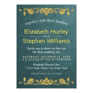 Green Linen Gold Floral Embroidery Wedding Shower Card