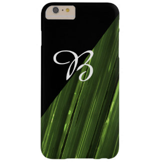 Green Lines of light and black Monogram Barely There iPhone 6 Plus Case