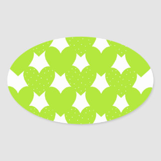 Green Linked Hearts Oval Sticker