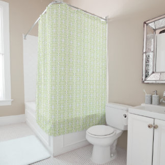 Green Lion Patterned Shower Curtain
