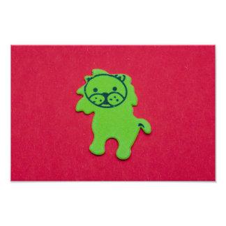Green lion sticker macro photo
