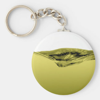 Green liquid wave basic round button key ring