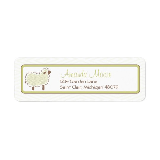 Green Little Lamb Address Label