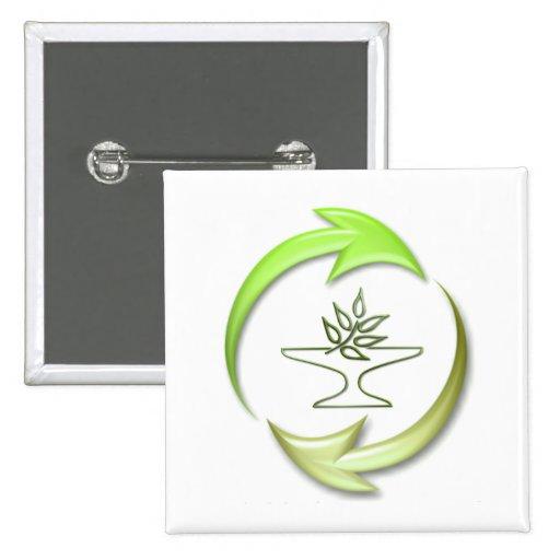 Green Living Square Button
