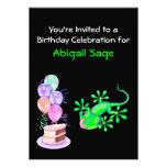 Green Lizard Birthday Party Invitation