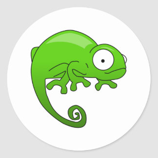 green lizard iguana cartoon classic round sticker