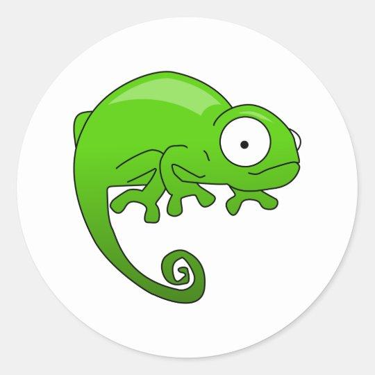 green lizard iguana cartoon classic round sticker