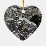 Green Lizard On A Rock. Ceramic Heart Decoration