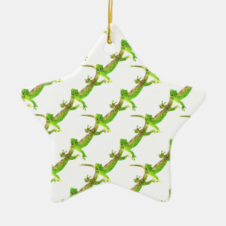 Green Lizard Pop Pattern Ceramic Star Decoration